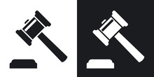 Vector Judge Gavel Icon. Two-t...