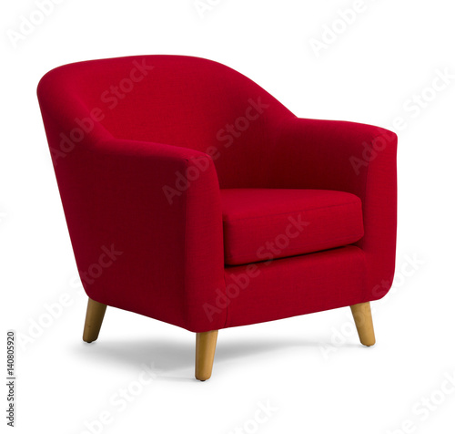 Photo Tub Chair Red Fabric isolated on white drop shadow