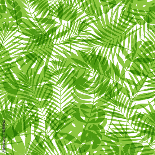 Ingelijste posters Tropische Bladeren Summer tropical palm tree leaves seamless pattern. Vector grunge design for cards, web, backgrounds and natural product.