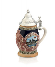 German Beer Mug With Silver Lid