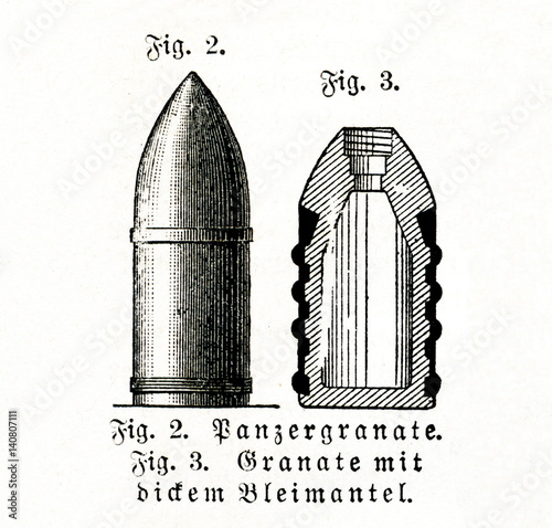 Photo  Armor-piercing shell (left) and lead-sheathed shell (from Meyers Lexikon, 1895,