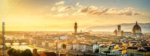 Photo sur Aluminium Florence Blick über Florenz vom Michel Angelo Platz