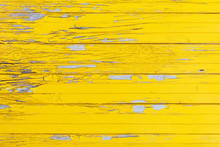 Horizontal Background Of The Old Wooden Planks With Cracked Yellow Paint