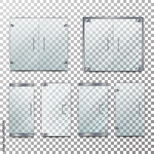 Fototapeta Glass Door Transparent Vector. Front For Office Or Boutique. Clear Showcase Facade. Isolated On Checkered Background obraz na płótnie