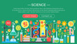 Flat design concept of science. Horizontal banner with scientist laboratory workplace. Scientific research experiment infographics template design, web header icons elements.Vector illustration.