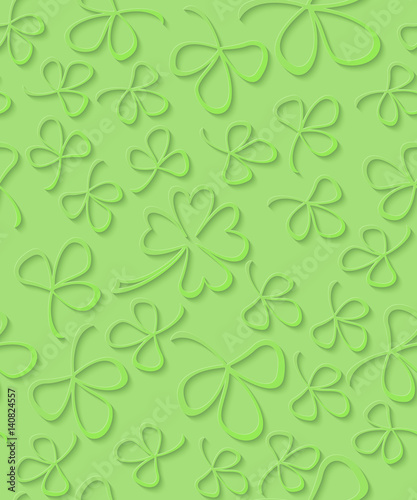 Vector Seamless 3d Green Paper Cut Pattern Clover For St