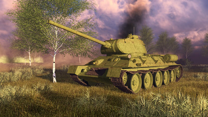 Fototapeta Militaria Close up of legendary russian tank T-34 on Second World War battlefield. Birches and smoke on a background. 3D illustration.