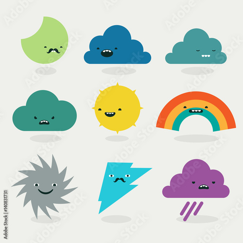 Photo  Cute weather emojis characters collection