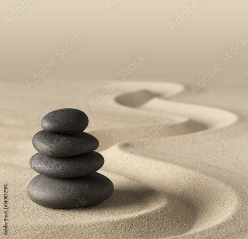 Tuinposter Stenen in het Zand spa wellness treatment, concept of Japanese zen garden stones and tao buddhism Balance harmony relaxation meditation background Stone stack in sand pattern spiritual elements...