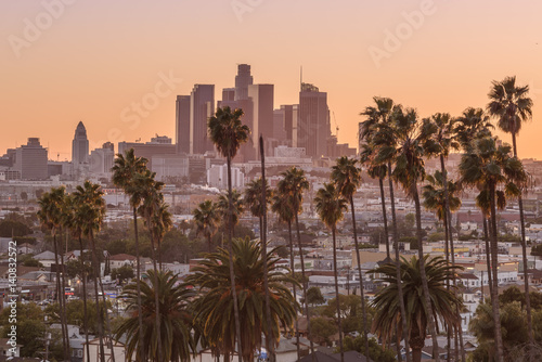 Poster Los Angeles Beautiful sunset of Los Angeles downtown skyline and palm trees in foreground