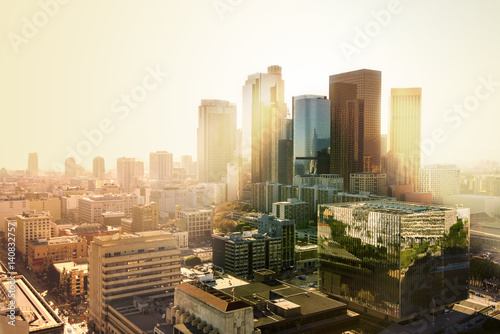 Staande foto Los Angeles Los Angeles, California, USA downtown cityscape at sunset