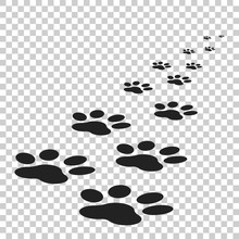 Paw Print Icon Vector Illustration Isolated On Isolated Background. Dog, Cat, Bear Paw Symbol Flat Pictogram.