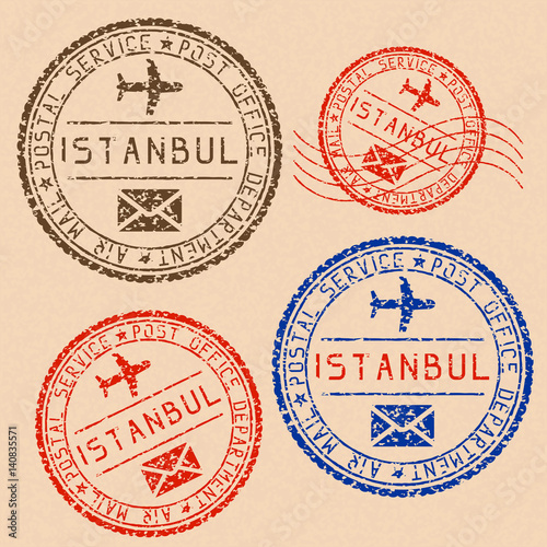 Fotografija  Istanbul mail stamps collection. Faded colored impress