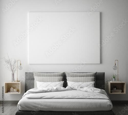 Fotografía  mock up poster frame in hipster bedroom interior background, scandinavian style,