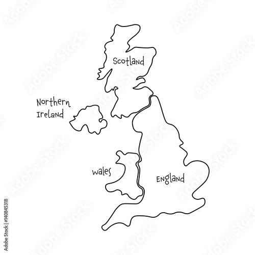 Map Of England Wales Scotland.United Kingdom Aka Uk Of Great Britain And Northern Ireland Hand