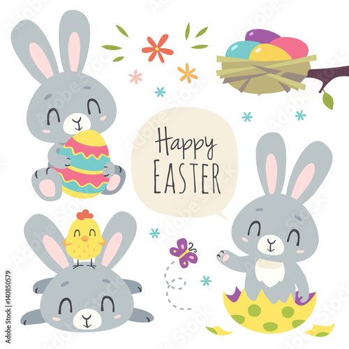 Photo  vector cartoon style easter bunny set