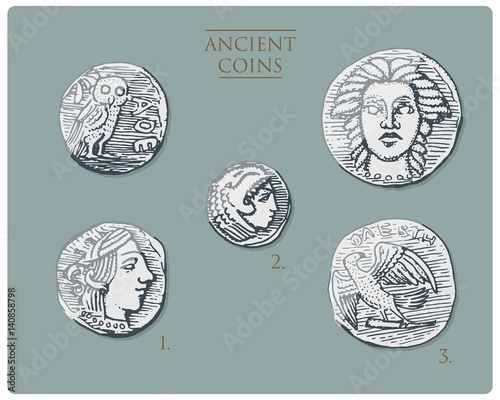ancient Greece, antique symbols silver coins tetra drachma