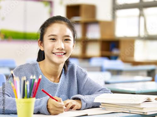 Fotografie, Obraz  happy asian elementary school girl
