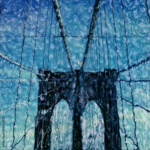 Brooklyn Bridge polaroid painting artwork. - 140876537