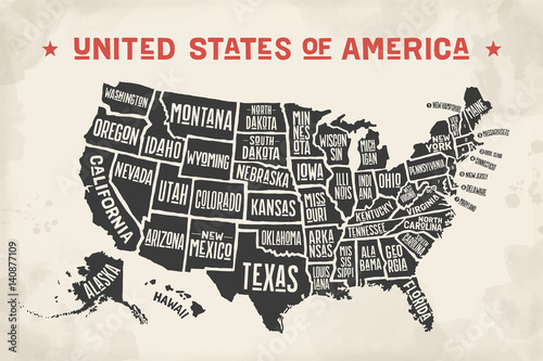Poster map of United States of America with state names Wallpaper Mural