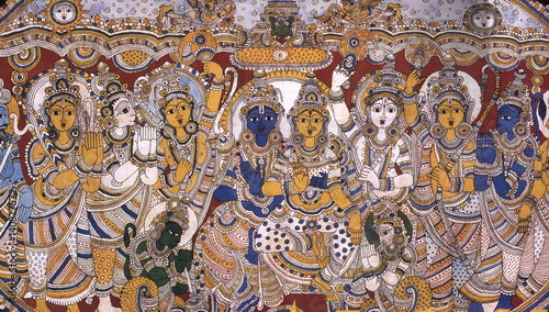 Photo  Indian art Kalamkari painting of Lord Rama-Sita