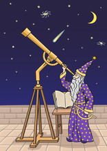 The Astronomer At The Telescope.