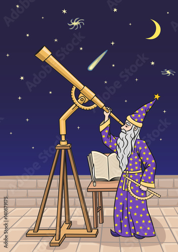 Canvas Print The astronomer at the telescope.