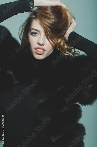Fototapety, obrazy: pretty sexy woman or girl with long hair in fur