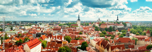 Printed kitchen splashbacks Historical buildings Old Tallinn. Estonia. Panoramic view to toompea buildings from Oleviste church in summer