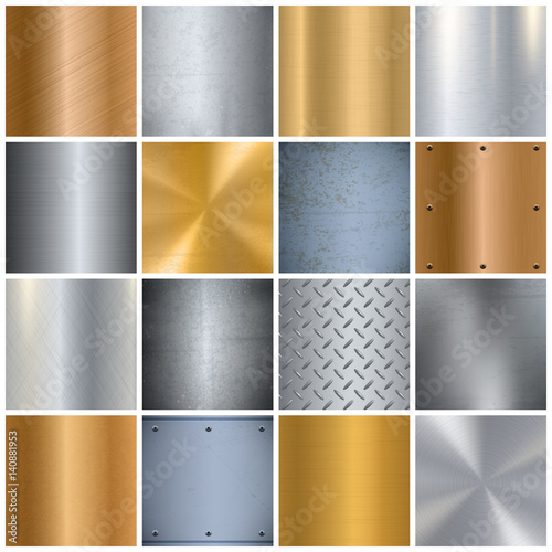 Fotografia, Obraz  Metal Texture Realistic Big Icons Set