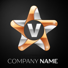 Letter V Vector Logo Symbol In The Colorful Star On Black Background. Vector Template For Your Design