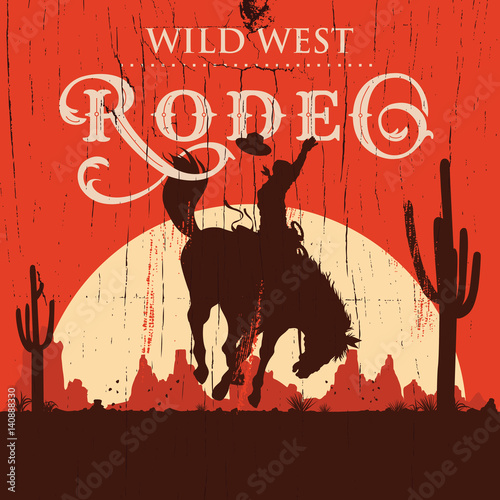 Fotomural  Rodeo cowboy riding wild horse on a wooden sign, vector
