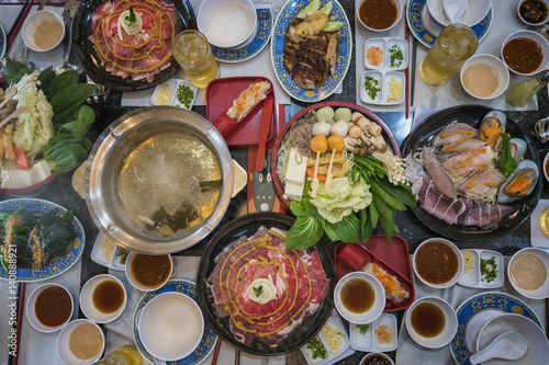 Photo Family marty with sukiyaki seafood and beef shabu