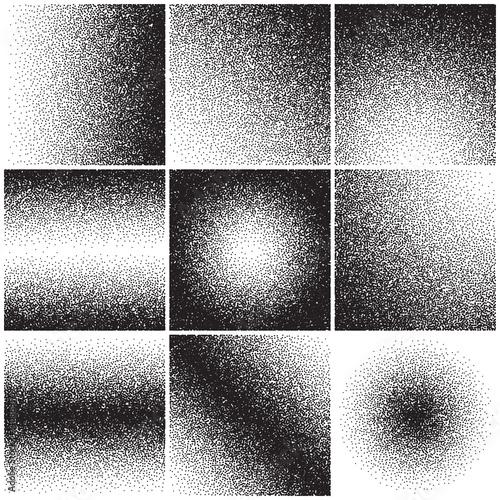Obraz Grainy sand textures, noise, grange gradient, dirty distressed effect. Vector backgrounds set - fototapety do salonu
