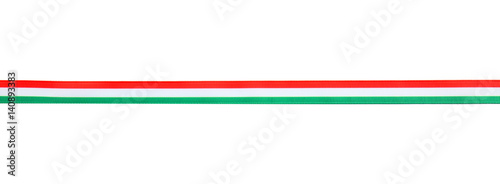 Foto Ribbon in colors of Hungarian flag isolated on white