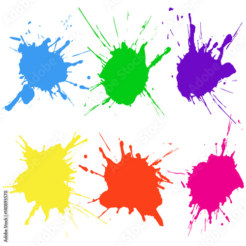 Poster Vormen Paint color splat set. Abstract vector illustration.