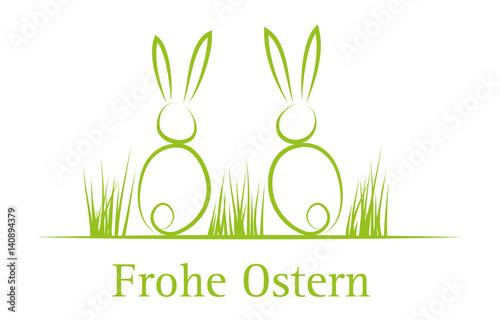 Frohe Ostern Grußkarte Mit Zwei Süßen Osterhasen Im Ostergras