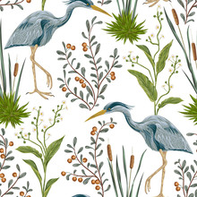 Seamless Pattern With Heron Bird And Swamp Plants. Vintage Hand Drawn Vector Illustration In Watercolor Style