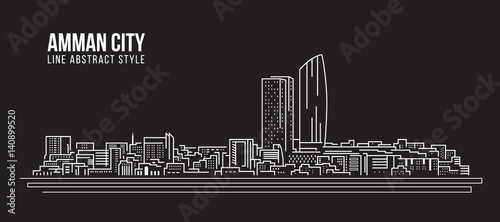 Photo Cityscape Building Line art Vector Illustration design - Amman city
