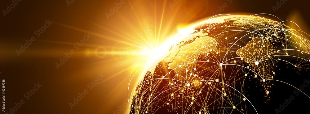 Fototapeta Global network with sunrise