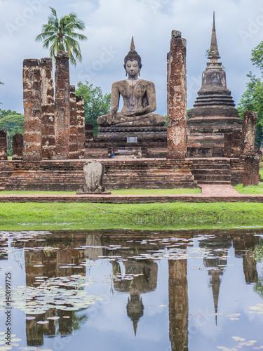 Ruin ancient Buddhist temple, Wat Mahathat Sukhothai, landmark in Thailand