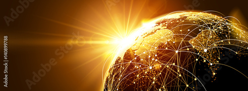 Fotomural Global network with sunrise