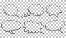 Speech Bubbles Icon Set. Hand Drawn Vector Illustration On Isolated Background.