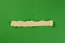 Torn Strips Of Newsprint On A Green Background