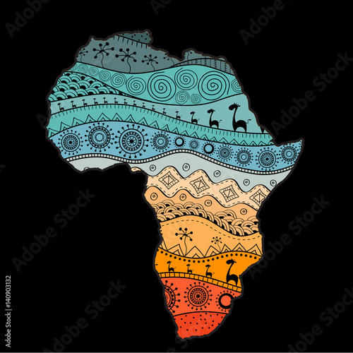 Canvas Print Textured vector map of Africa