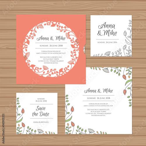 Wedding Invitation Or Greeting Card With Flower Wreath Cut Laser