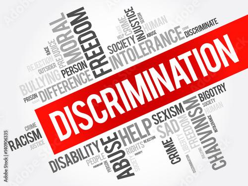 Vászonkép Discrimination word cloud collage, social concept background