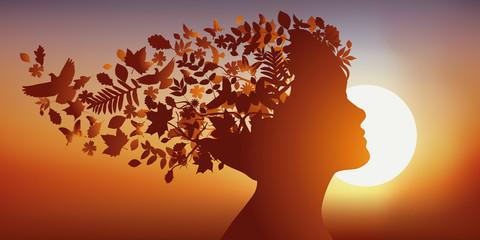 Cheveux - Nature - Visage, Profil - Rêve - Imagination - Coucher de soleil
