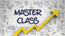 Master Class Drawn On White Brick Wall. 3d.