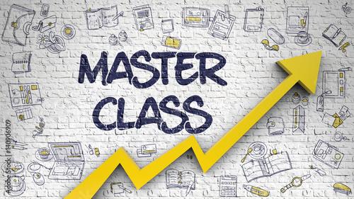Billede på lærred Master Class Drawn on White Brick Wall. 3d.